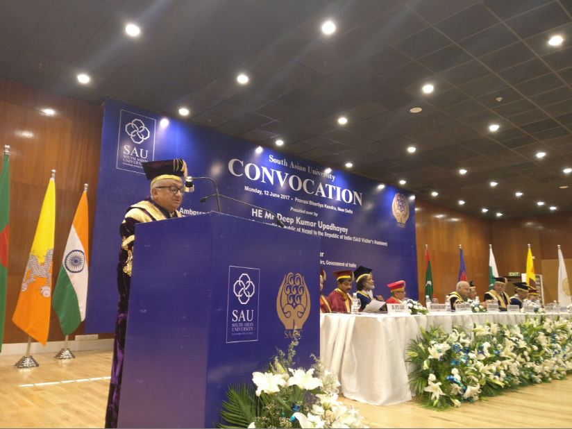 His Excellency Mr. Deep Kumar Upadhyay addressed the 2nd Convocation  Ceremony of the South Asian University (SAU) held in New Delhi today.